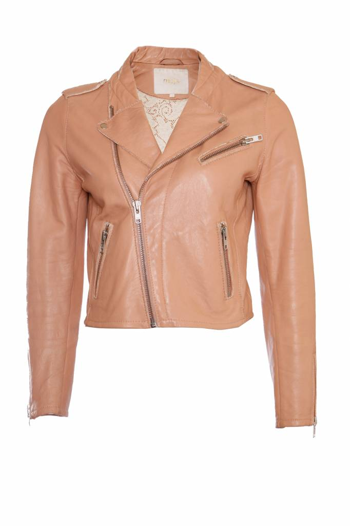 04a22f9683 Maje, pink/nude leather jacket in size FR40/M. - Unique Designer Pieces