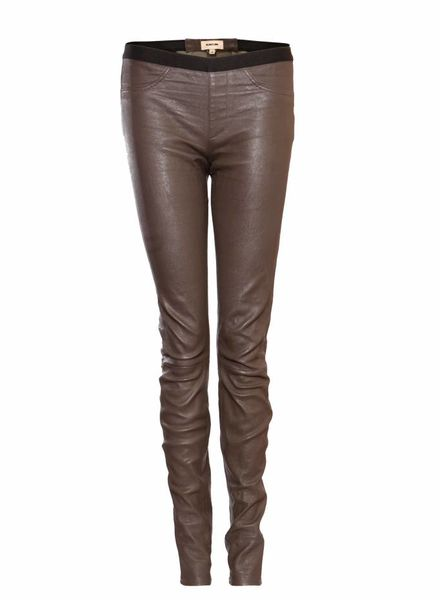Helmut Lang Helmut Lang, Kakhi leather trousers in size 4/XS/S.