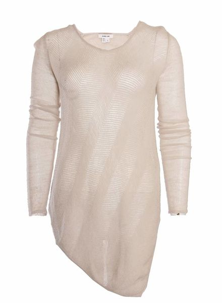 Helmut Lang Helmut Lang, beige/natural open woven asymmetric top in size S.
