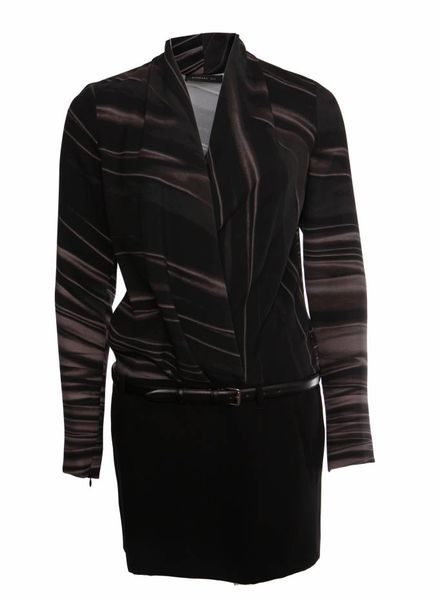 Barbara Bui Barbara Bui, zwart gestreepte jurk met leren riempje in maat 38/S.
