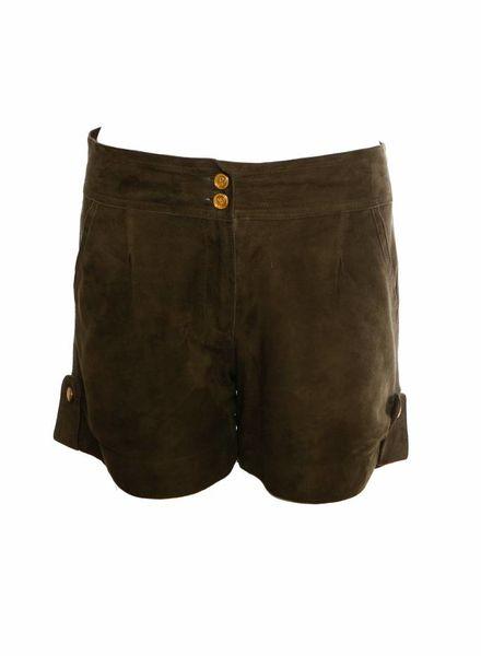 ByDanie ByDanie, Olijfgroen suede shorts in maat S.