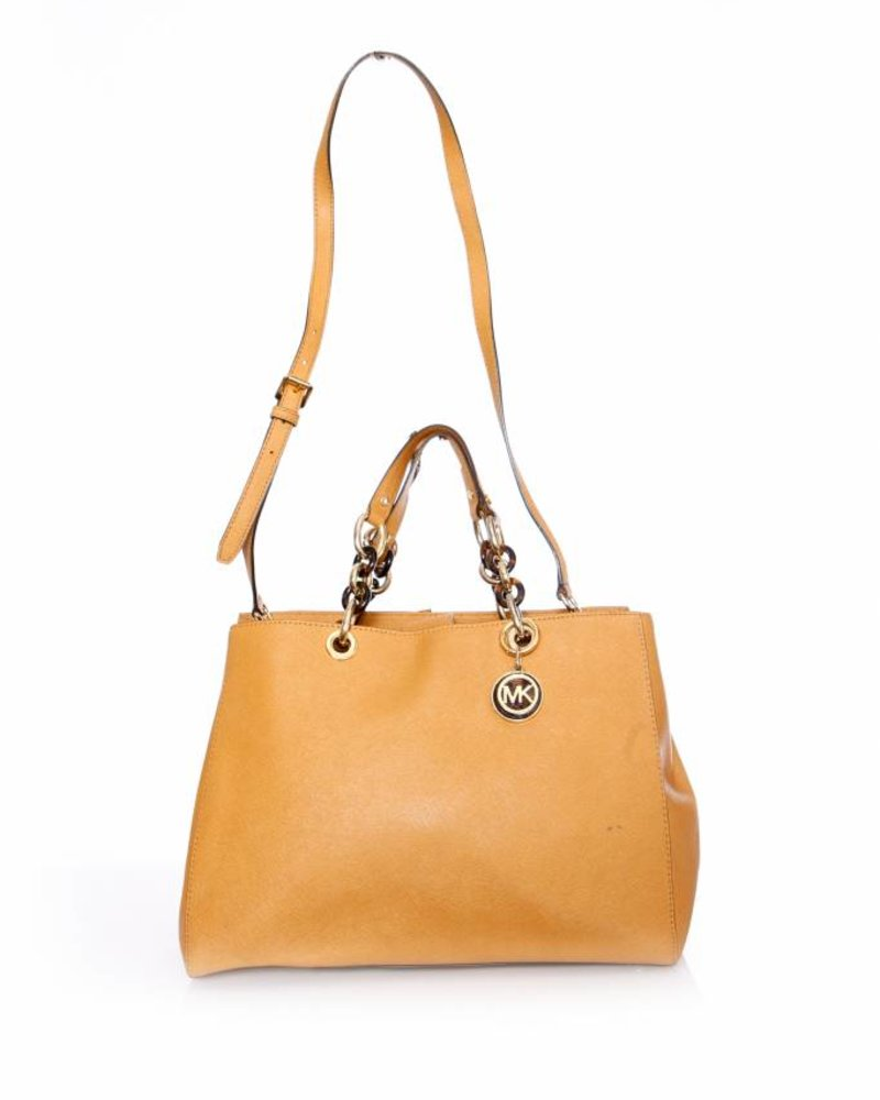 how to buy new photos authentic Michael Kors Michael Kors, brown leather tote bag with shoulder strap
