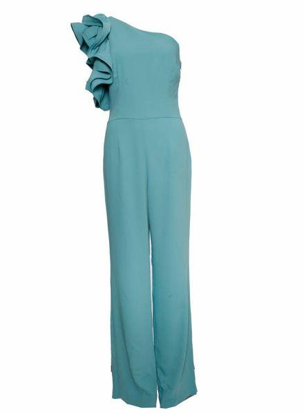 Etxart & Panno Etxart & Panno, Turquoise jumpsuit met bloem op de schouder in maat 40/M.