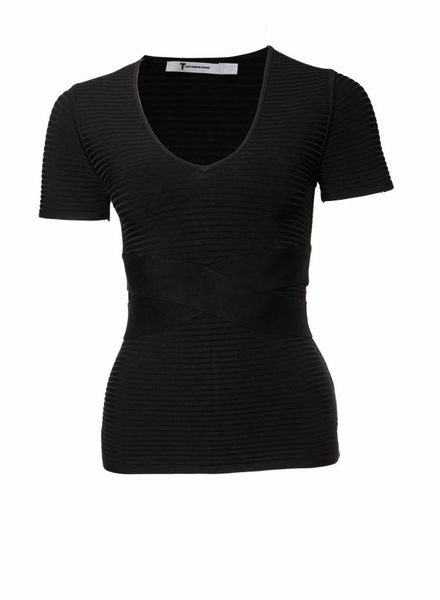 T by Alexander Wang T by Alexander Wang, black criss cross stretch top in size S.