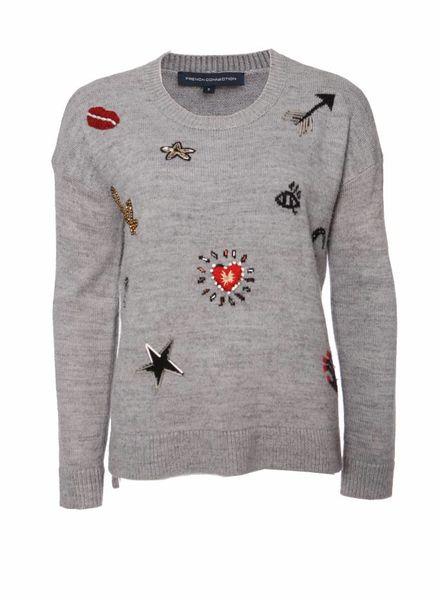 French Connection French Connection, grijze trui met decoratie (kraaltjes en steentjes ) in maat S.