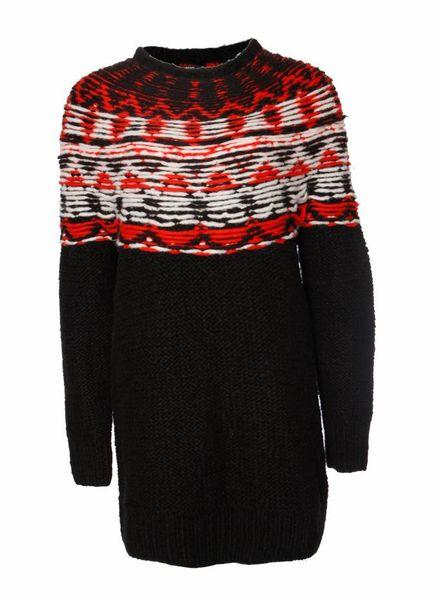 Denham Denham, zwart wollen trui met rood/wit rond de nek in maat S.