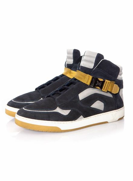 Louis Vuitton Louis Vuitton, Navy Suede and Nylon Slipstream High Top Sneakers in size 6/39.