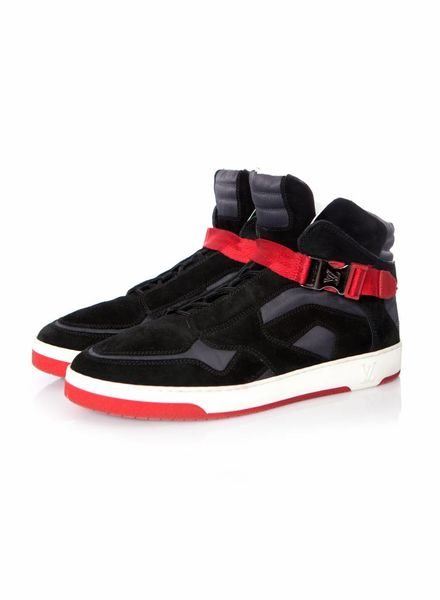 Louis Vuitton Louis Vuitton, Black Suede and Nylon Slipstream High Top Sneakers in size 6/39.