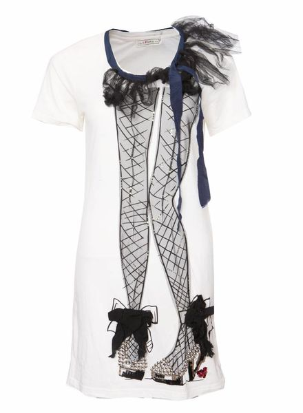 LANVIN for H&M Lanvin X H&M, White T-shirt with print in tule and beads in size S.