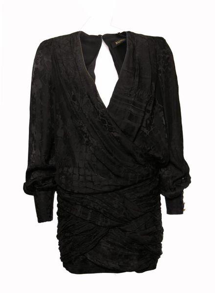 Balmain X H&M Balmain X H&M, zwarte zijden jurk in maat EU38/M.