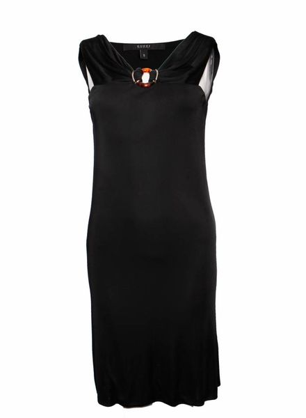 Gucci Gucci, Black dress with brown/gold ornament in size S.