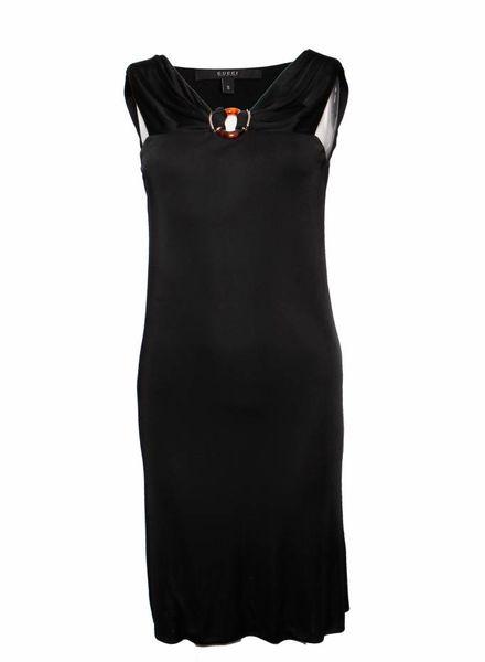Gucci Gucci, zwarte jurk met bruin/goud ornament.