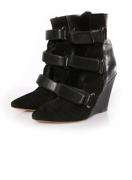 Isabel Marant Isabel Marant, Scarlet Calfskin Suede Leather Wedge Boots in Black in size 38.