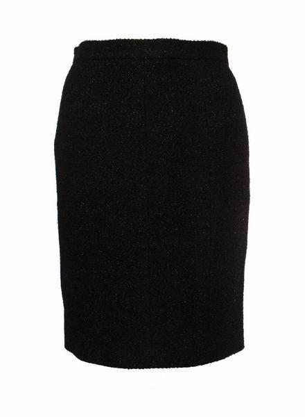 Chanel Chanel, zwart wollen rokje met lurex in maat 40FR/M.