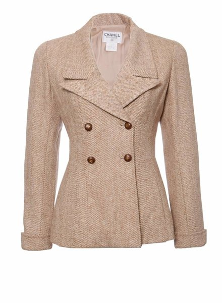 Chanel Chanel, double-breasted camel colored blazer with brown leather buttons in size FR38/S.