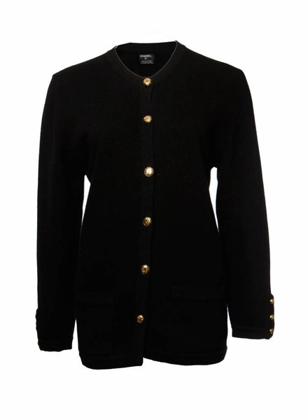 Chanel Chanel, black cashmere cardigan in size FR38/S.