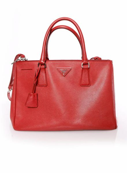 Prada Prada, Galleria tote bag in red saffiano leather.