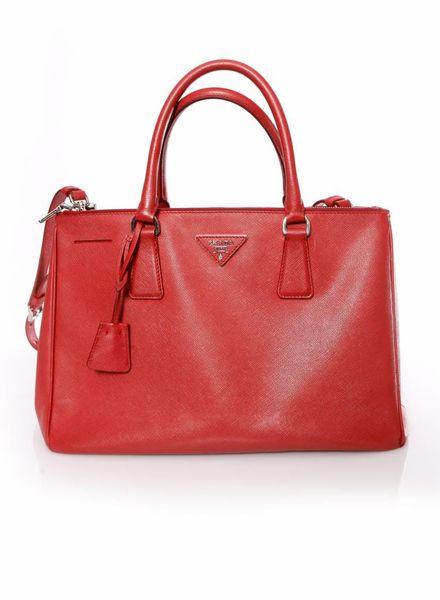 Prada Prada, Galleria tote in rood saffiano leer.