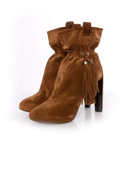 Celine Celine, brown suede ankle boots with tassels in size 39.5.