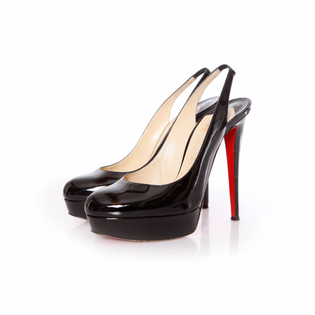 bdad9cdd10e Christian Louboutin, Bianca black patent leather slingback heel with  platform in size 40.