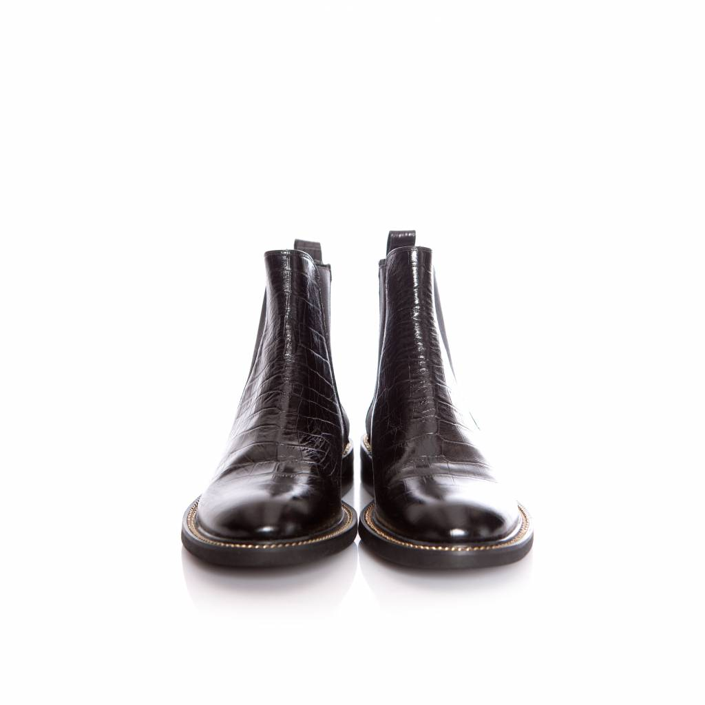 Kurt Geiger, black leather croc embossed chelsea boots in size 39