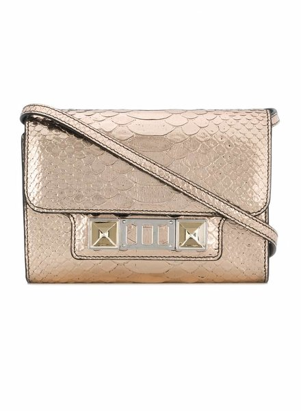 Proenza Schouler Proenza Schouler, Metallic Embossed Python PS11 Wallet with Strap in rose gold.