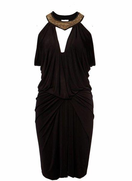 Faith Connexion Faith Connexion, zwart gedrapeerde jurk met nekhalter met goede steentjes in maat S.
