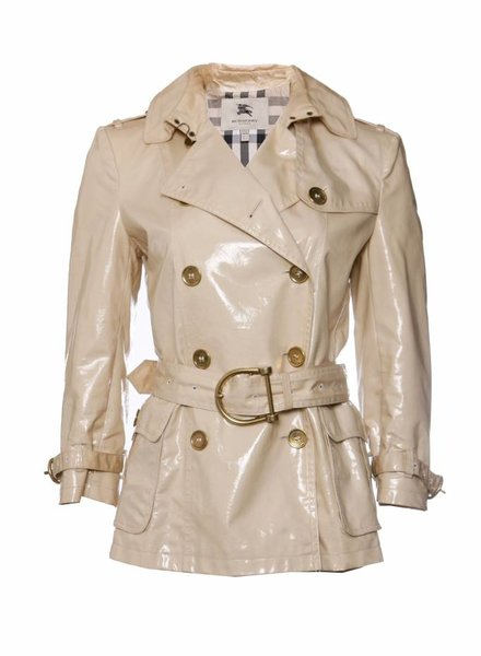 Burberry Burberry, Beige double-breasted laminated gabardine coat in size IT42/S.