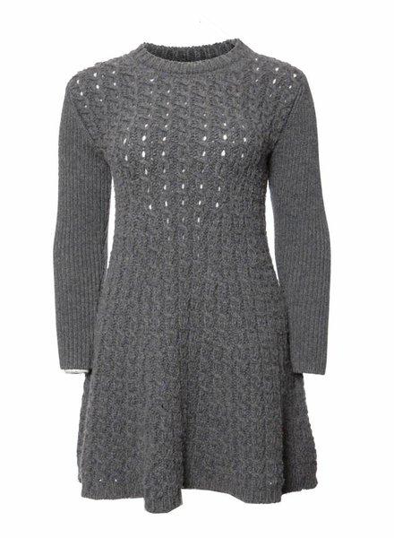Stella McCartney Stella McCartney, Grijs wollen uitlopende jurk in maat 38/M.
