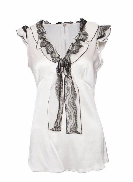 Dolce & Gabbana Dolce & Gabbana, witte zijden top in maat M.