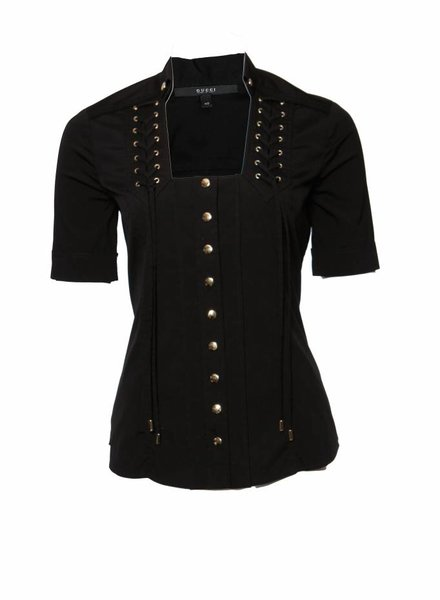 Gucci Gucci, Black top with gold push buttons in size IT40/XS.