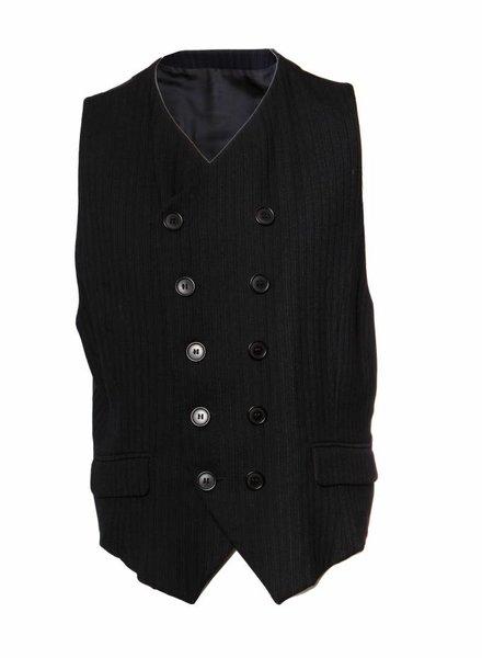Dolce & Gabbana Dolce & Gabbana, zwart gilet met dubbele rij knopen en krijtstreep in maat IT54/XXL.