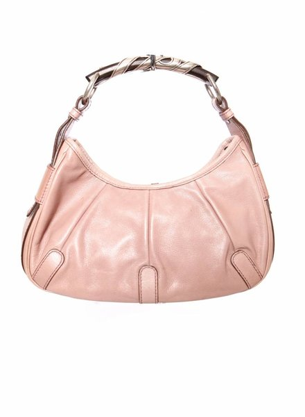 Yves Saint Laurent Yves Saint Laurent, Nude/old pink colored mini Mombasa bag with silver hardware