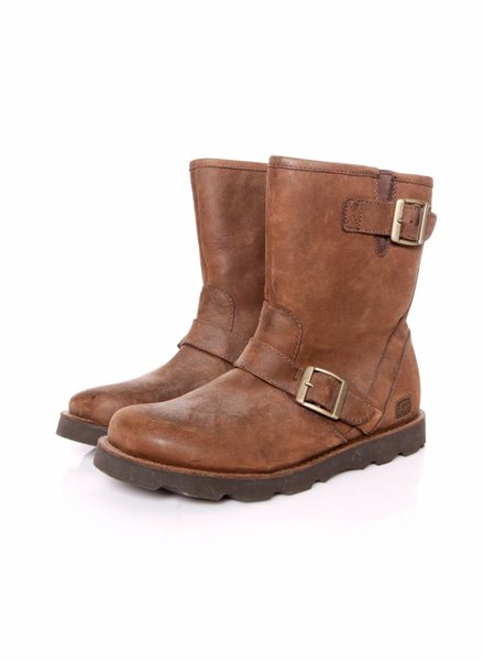 Ugg Uggs, brown leather boots lined with shearling in size 39.5.