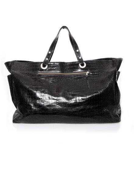 Paul Warmer Paul Warmer, High Shine Leather Croc embossed travel bag.