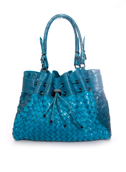 Burberry, turquoise woven leather bag with embossed croc print.
