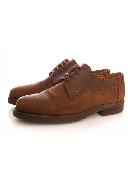 Johnston & Murphy, Brown leather cap toe lace-up Derbys in size 9.5/42.5.