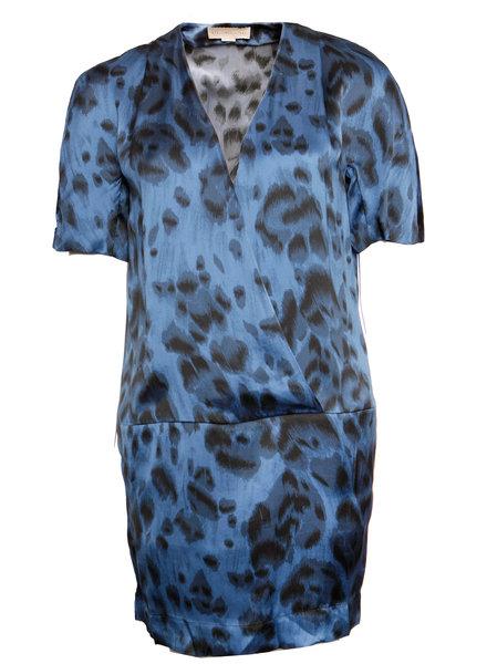 Stella McCartney Stella McCartney, Blue silk leopard print dress with side pockets in size 40/M-L.