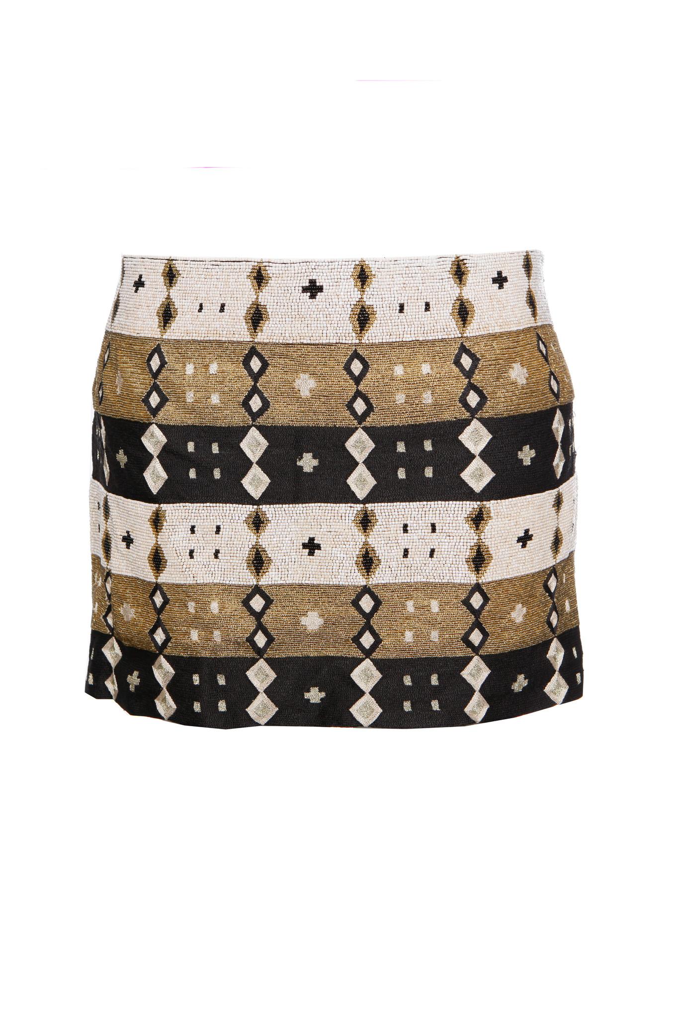 c8f71da188 Jasmine De Milo Jasmine Di Milo, Black/white/gold ethnic beaded skirt in ...
