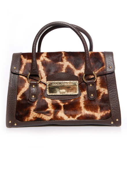 Dolce & Gabbana Dolce & Gabbana, handtas met bruin leer en print van giraf in kalfshaar.