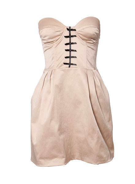 Elisabetta Franchi Elisabetta Franchi, Oud roze satijnen wijd uitlopend jurkje met corset sluiting op de rug in maat IT42/S.
