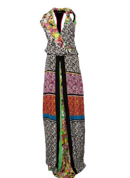 Etro Etro, Multikleurig mouwloze zijden patchwork jurk met bloemprint in maat IT42/S.