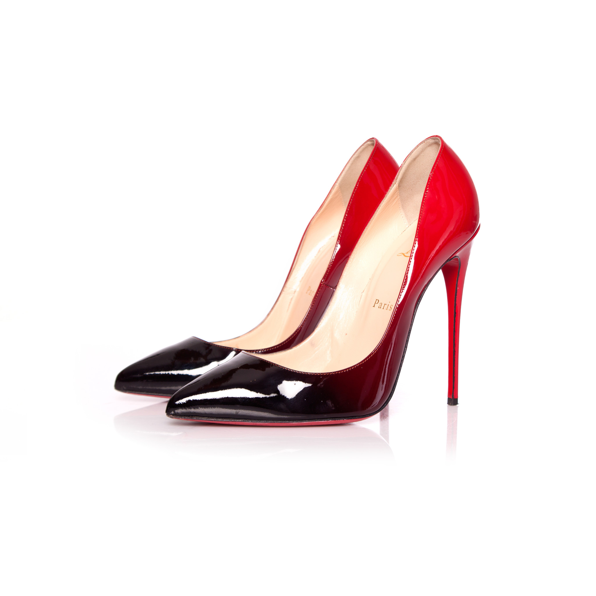 best service abf68 eff04 Christian Louboutin, Patent Leather 'Pigalle Follies 100' Degrade Pumps in  Black/Red in size 40.
