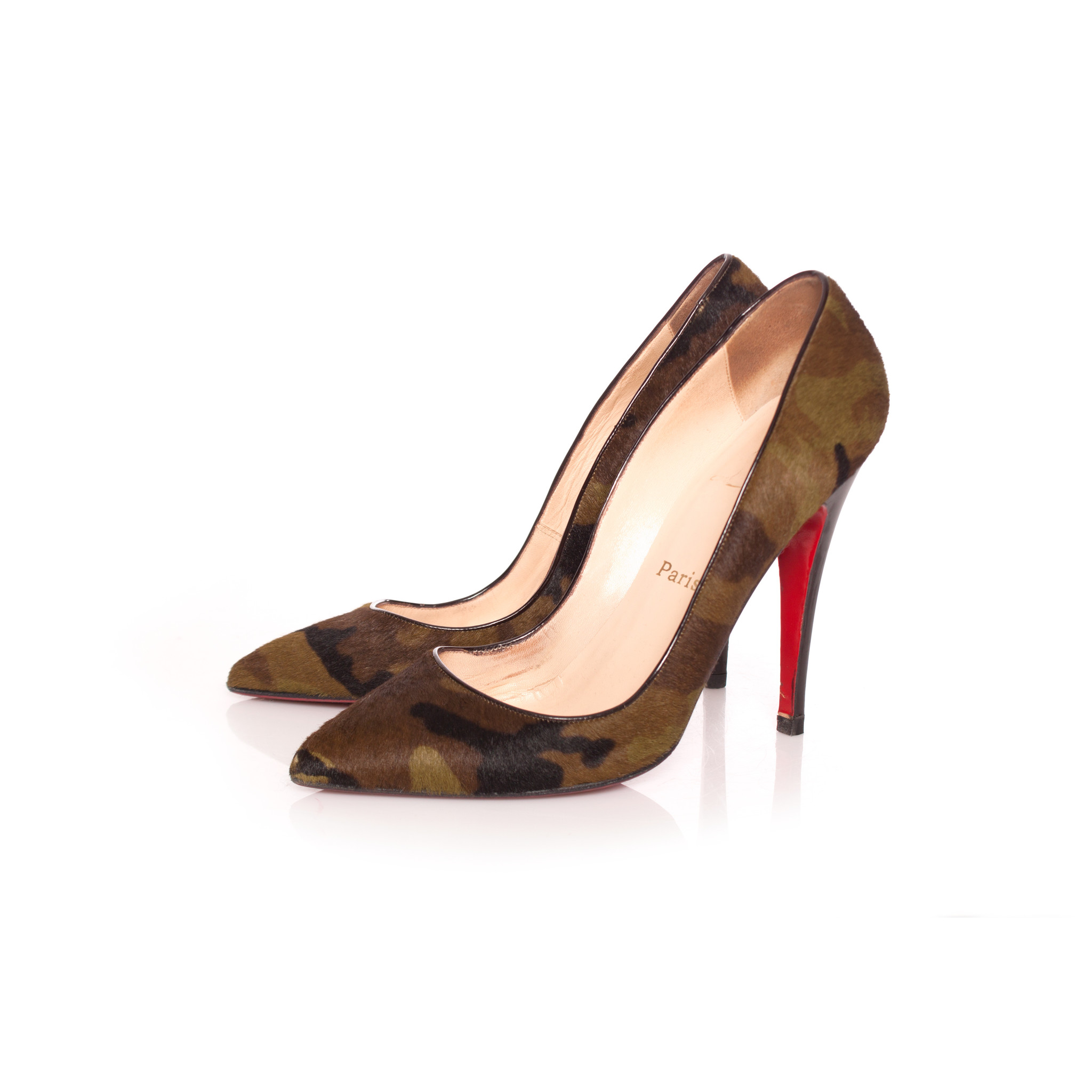 outlet store 9c2cf 5f6ae Christian Louboutin, Green army print pumps in calf hair with patent  leather heel in size 39.5.