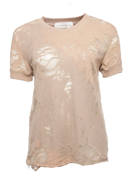 IRO IRO Jeans, bruin/nude gekleurde T-shirt met semi-transparante legerprint in maat S.