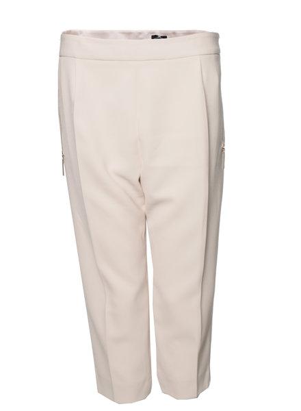 Elisabetta Franchi Elisabetta Franchi, Neutraal/beige gekleurde 3/4 broek met zilveren ritsen in maat IT48/L.