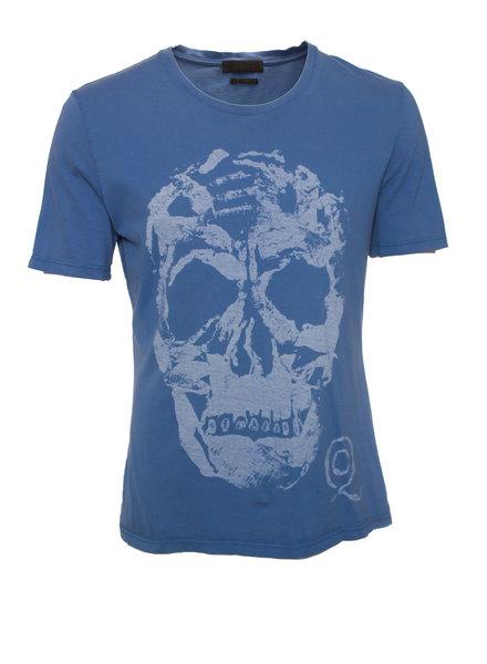 Alexander McQueen Alexander McQueen, blauw T-shirt met doodshoofd in maat L.