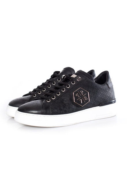Philipp Plein Phillip Plein, black leather lo-top sneakers with logo print in size 40.