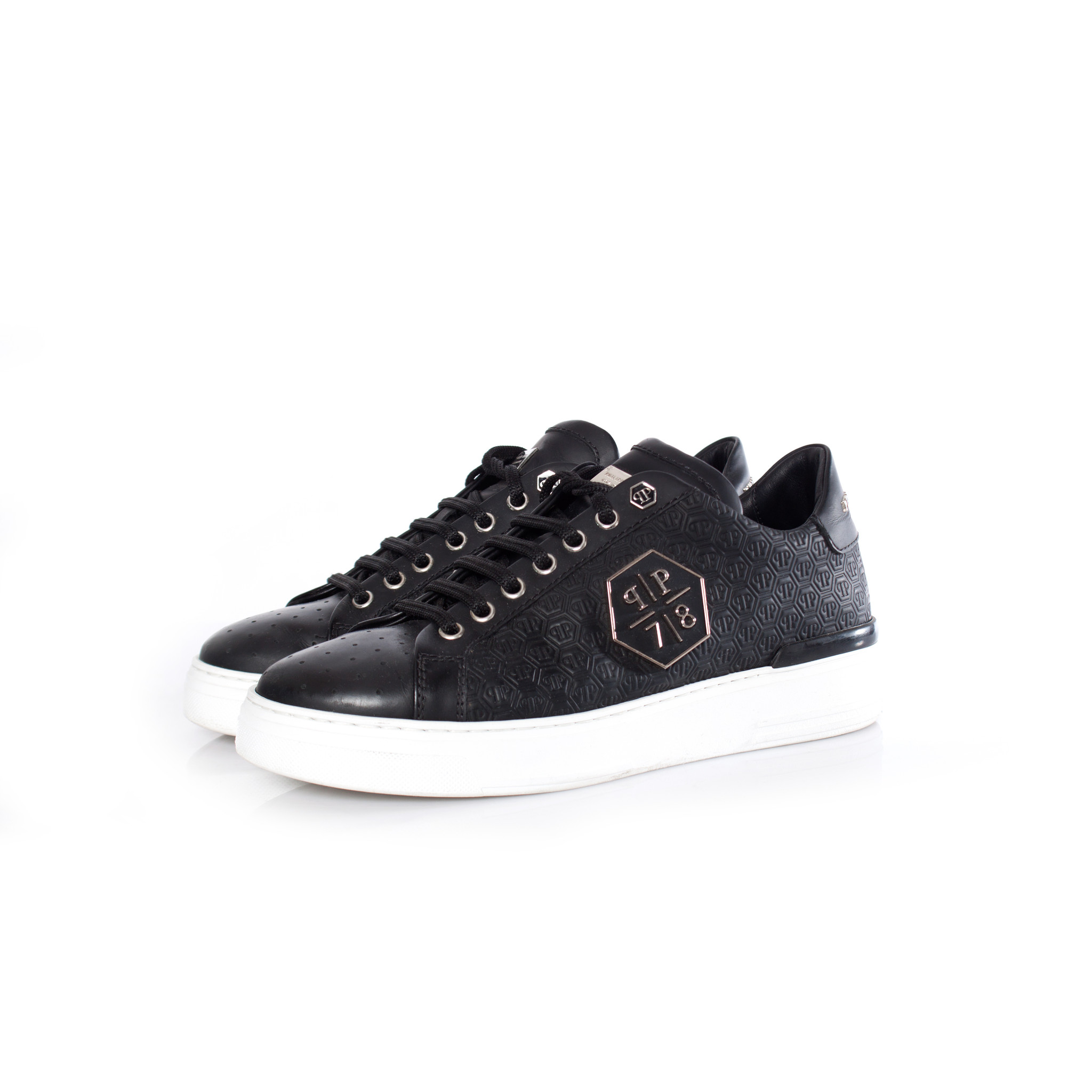 nuovo stile 2b39a 1ac01 Phillip Plein, black leather lo-top sneakers with logo print in size 40.