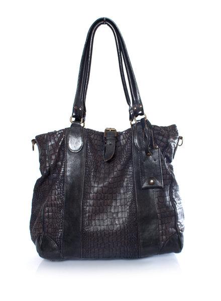 Officine Creative, Dark blue croc embossed leather bag.